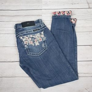 Miss Me Signature Cuffed Floral Jeans Size 25